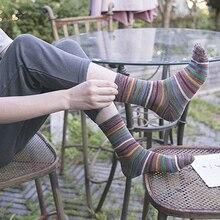 Для мужчин повседневная чистый коттоновые носки цветные носки В Полоску Новинка высокого качества Носки цвета хлопок материал