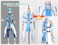 Anime SAO Sword Art Online 2 Asuna Yuuki Blue Version Cosplay Costume Adult Women Blue Outfit Dress Stockings Armband Skirt Size