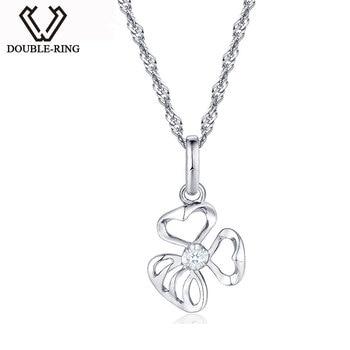 DOUBLE-R 0.02ct Diamond Pendants Ladies Flower 925 Sterling Silver Necklaces Romantic Gift Diamond Jewelry Customized CAP03762SA