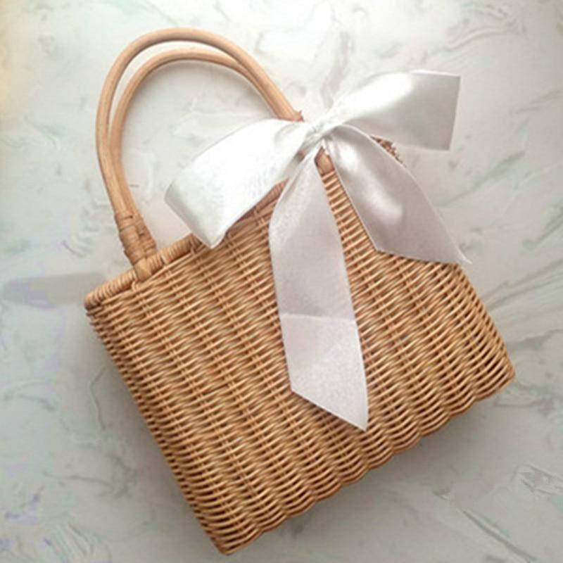 New Rattan Handle Woven Bag Flowers Straw Bag Leisure Vacation Tote Beach Bag For Women Luxury Handbags Designer shopping basket