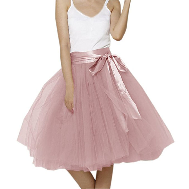 Vintage 5 Layers Tulle Tutu Skirt Women Knee Length Bowknot layered Tulle Party Prom Skirt Real