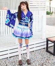 Azul anime kimono traje de cosplay para las mujeres anime traje de la mujer bonita de la fiesta ropa de anime japonés traje de mucama