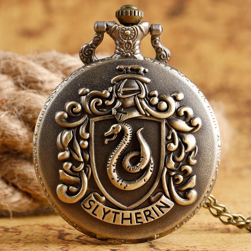 Retro Normal Size Slytherin Hogwarts Magic School Quartz Pocket Watch Chain Necklace Men Women Student Casual Dress Analog Time