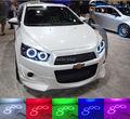 Para chevrolet aveo de sonic t300 2011 2012 2013 2014 excelente kit Angel Eyes Multi-Cor Ultrabright LED RGB Angel Eyes de Halo anéis
