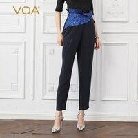 Воа из тяжелого шелка шаровары Для женщин пояса Оби офисные длинные брюки женские осенние базовые Темно синие оборками большой Размеры Аси