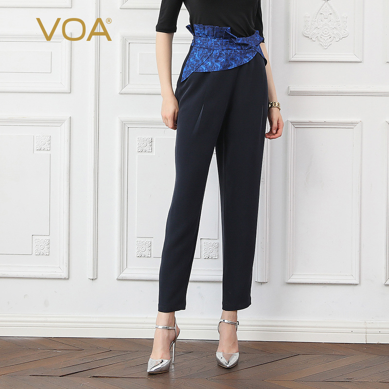 VOA Heavy Silk Harem Pants Women Obi Belts Office Long Trousers Ladies Autumn Basic Navy Blue Ruffles Large Size Asymmetric K759
