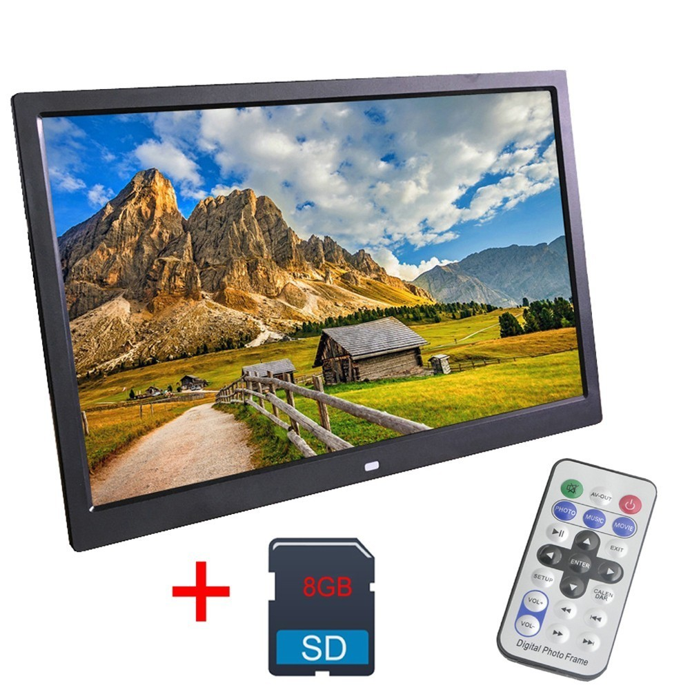 12 Inch Digital Photo Frame 8 GB LED Backlight High-Definition 1280 X 800 Electronic Album Picture Music Video Good Gift