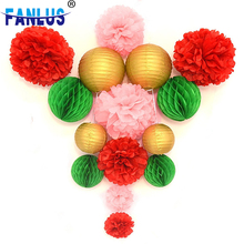 15pcs/Set christmas Red Paper Pompoms Decorations For Home Festival Lantern Gold Decor Garden Pink Artificial Flower Xmas
