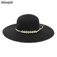 XdanqinX 2019 Summer New Womens Straw Hat Foldable Breathable Sun Headwear Decoration Oversized Visor Beach Hats For Women