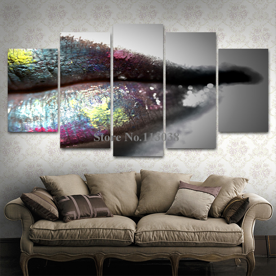 Home Decoration 5 Pieces Sexy Dark Mix Colors Lip Printed