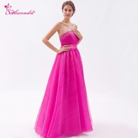 Alexzendra Violet Organza Beaded Pleated A Line Prom Dresses Crystals Simple Long Evening Gowns Party Dress