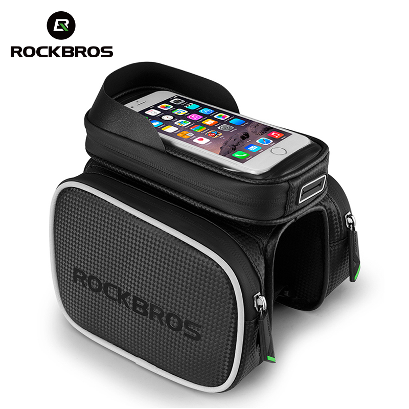 ROCKBROS 6.2 Inch Bicycle Front Frame Top Tube Bag Waterproof TPU Touch Screen MTB Road Bike Bags Cell Phone Bicycle Cycling Bag