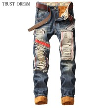 2019 NEW Autumn Winter Man Hole Patchwork Jeans Euro Style Slim Fleece Warm Denim Pants Men Casual Biker Motor Amazing Jean