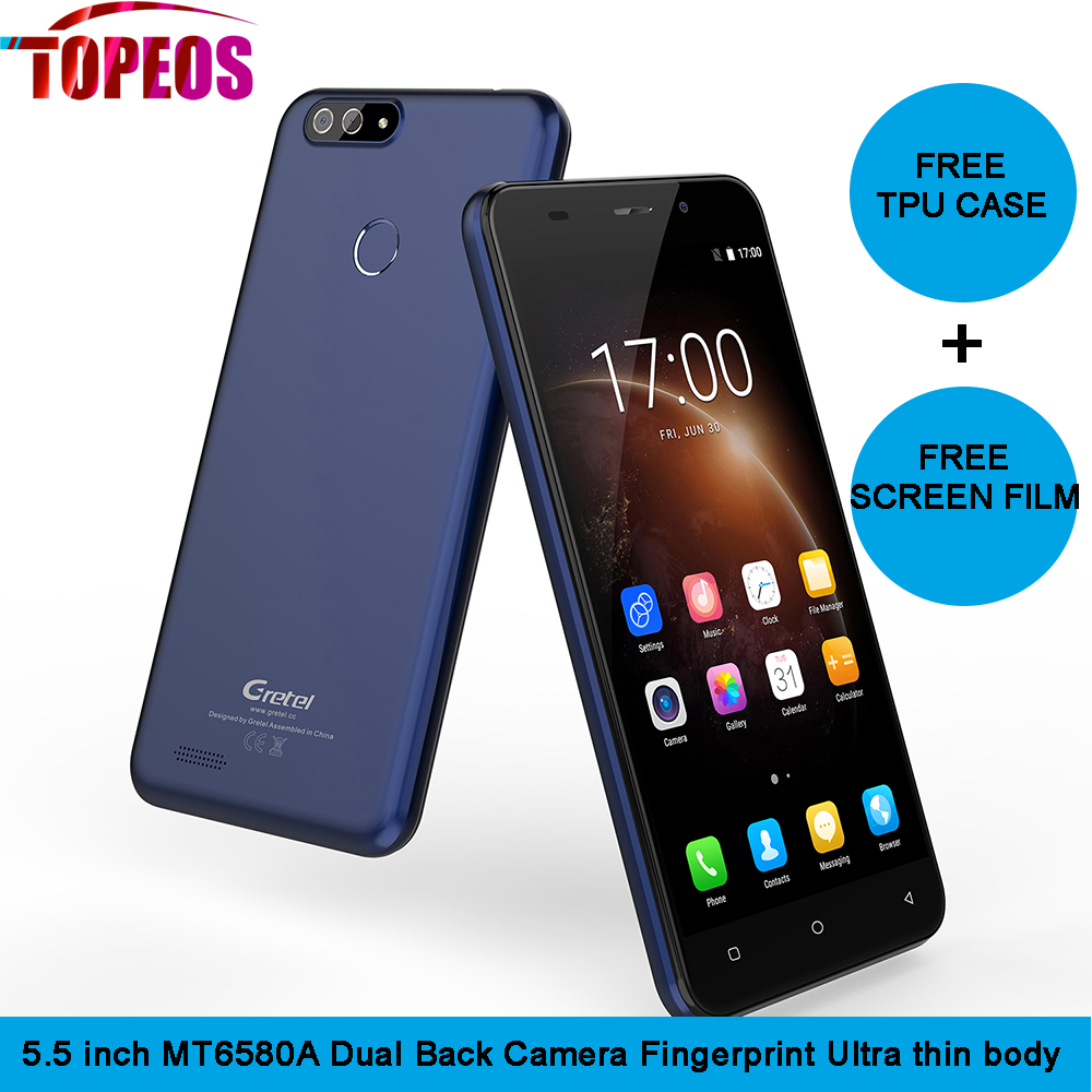 Gretel S55 5.5 inch Quad Core Android 7.0 Cellphone 1GB RAM 16GB ROM MT6580A 1.3GHz 8MP Dual CAM WCDMA GPS Smartphone