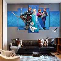 Unframed Cartoon Child oil painting Frozen Elsa Anna Princess Olaf Wall Art Canvas Prints Pictures For Living Room Modern Movie