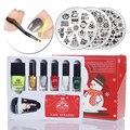 New 12pcs/set BORN PRETTY Christmas Stamping Nail Art Set Xmas Stamp Plate & Stamper & Scraper & Nail Polish BP Xmas Gifts Set