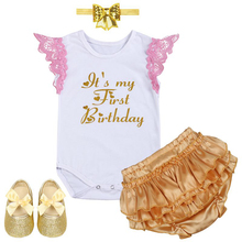 Cute Girl Baby Birthday Clothes My First Cake Smash Outfit Sleeveless 4pcs Set Romper for Photo Shoot