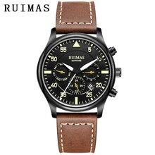RUIMAS 男性ファッション本物のレザーストラップ腕時計自動ビジネス機械式時計男性時計腕時計 Erkek Kol Saati