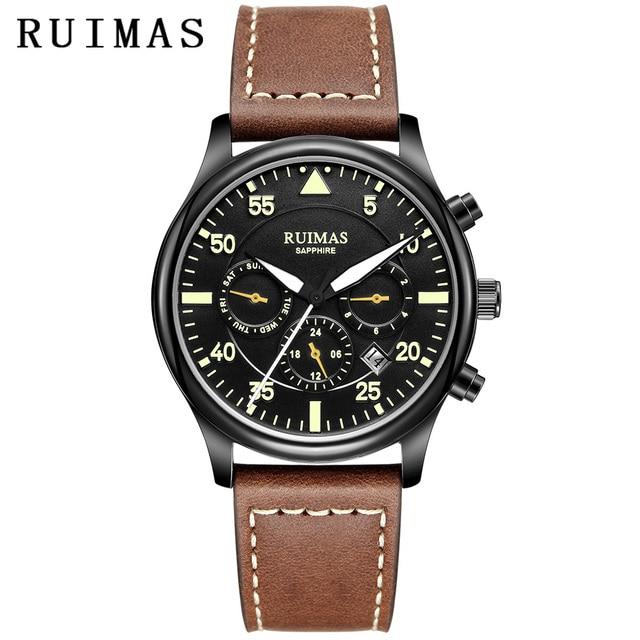 RUIMAS גברים אופנה עור אמיתי רצועת שעון אוטומטי עסקים מכאני שעונים זכר שעון שעוני יד Erkek Kol Saati