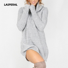 LASPERAL Vestidos 2017 Woman Chic Knitwear Turtleneck Long Sleeve Winter Dress Women Casual Slim Warm Dress Sweater Jumpers 2XL
