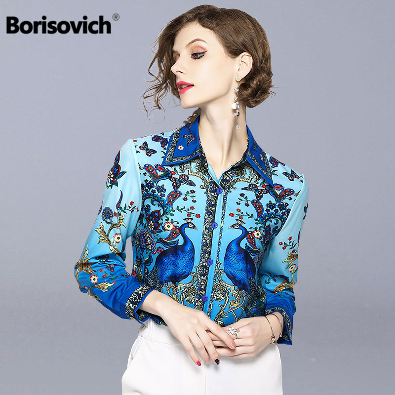 Borisovich Vintage Print Women Shirts New 2018 Fashion Office Lady Style Turn-down Collar Elegant Blue Female Blouse Shirt M493