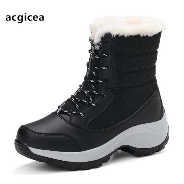 Big Size Winter Women Snow Boots Winter Women Keep warm Shoes Autumn Female Mid-Calf Platform Boots 2018 Woman Shoes mujer  NO1