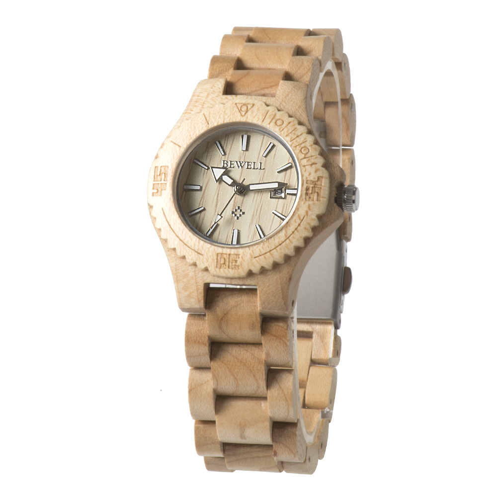 BEWELL Woman Wood Watch Natural Wood Date Display Liten Analog Quartz Watch Lady Wooden Carton Watch Lett Vekt Sommer 020AL