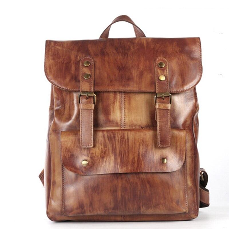 New Unisex Rucksack Knapsack Daypack Business Laptop Bags Real Cowhide Students School Book Bag Retro Genuine Leather Backpack mantra точечный светильник saona c0182