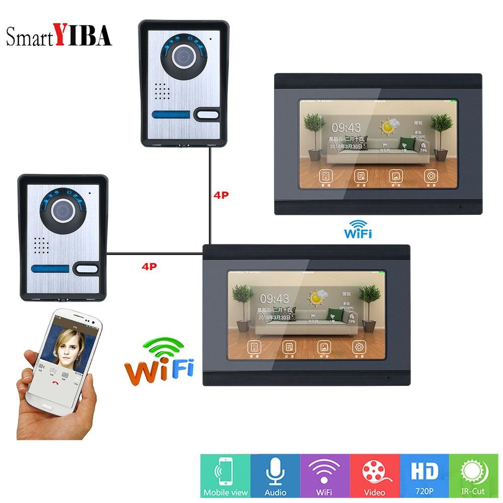 SmartYIBA APP Remote Control Video Intercom 7 Inch LCD Wifi Wireless Video Door Phone Doorbell Intercom KIT 2 Camera 2 Monitor