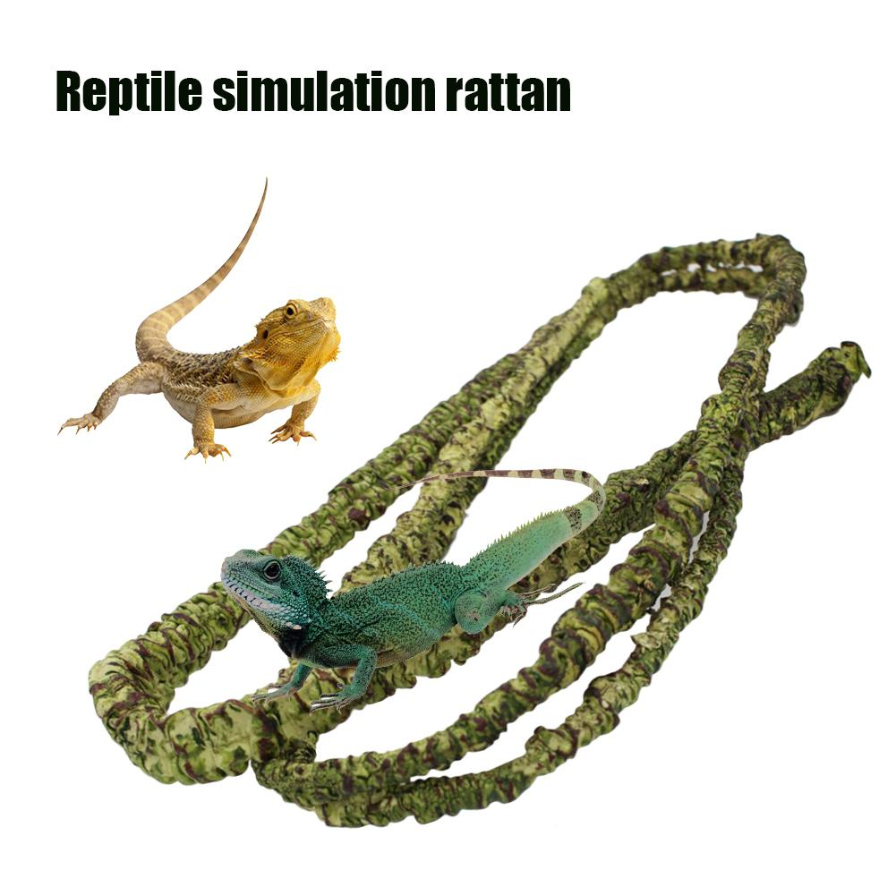 Collapsible Reptile Vines Habitat Decoration Artificial Simulated Rattan Lizard Green Plants Jungle Climber Reptile Supplies