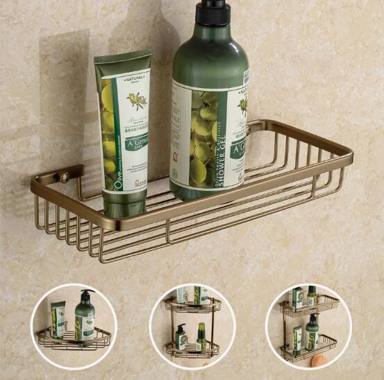Wall Mounted Antique Bronze Alumimun Bathroom Shelf Bathroom Soap Holder Bath Shower Shelf Bath Shampoo Holder Building Materia