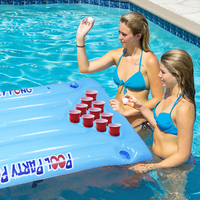 2018 New Hot Summer Water Party Fun Air Mattress Ice Bucket Cooler 145cm 24 Cup Holder PVC Inflatable Beer Pong Table Pool Float 4