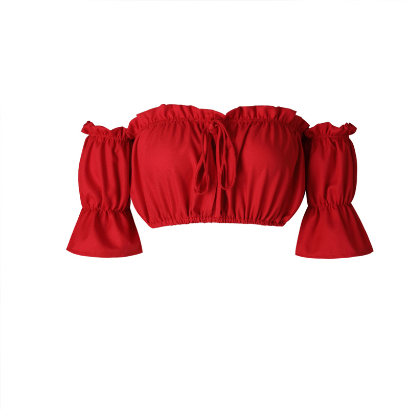 Crop tops women 2017 summer lantern sleeve sexy strapless beach tops plus size red black white