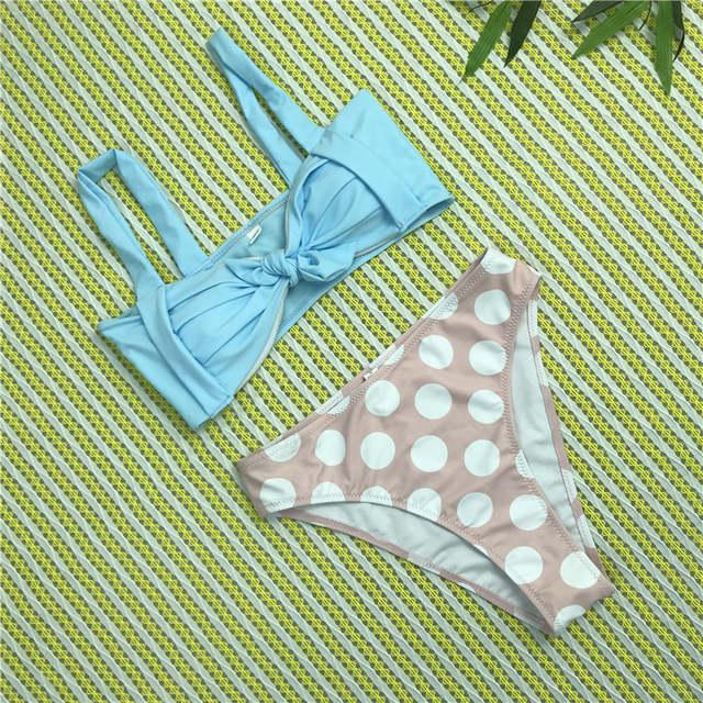 fd32df8fe93 Neon Blue Pink Polka Dots Brazilian Bikini Women Sexy Swimwear 2018 Beach Bathing  Suit Girls Push