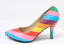 Hot Sale Rainbow Women Pumps Spring Autumn Rivets Pointed Toe Women's High Heels Shoes High Quality Colorful Woman Shoes