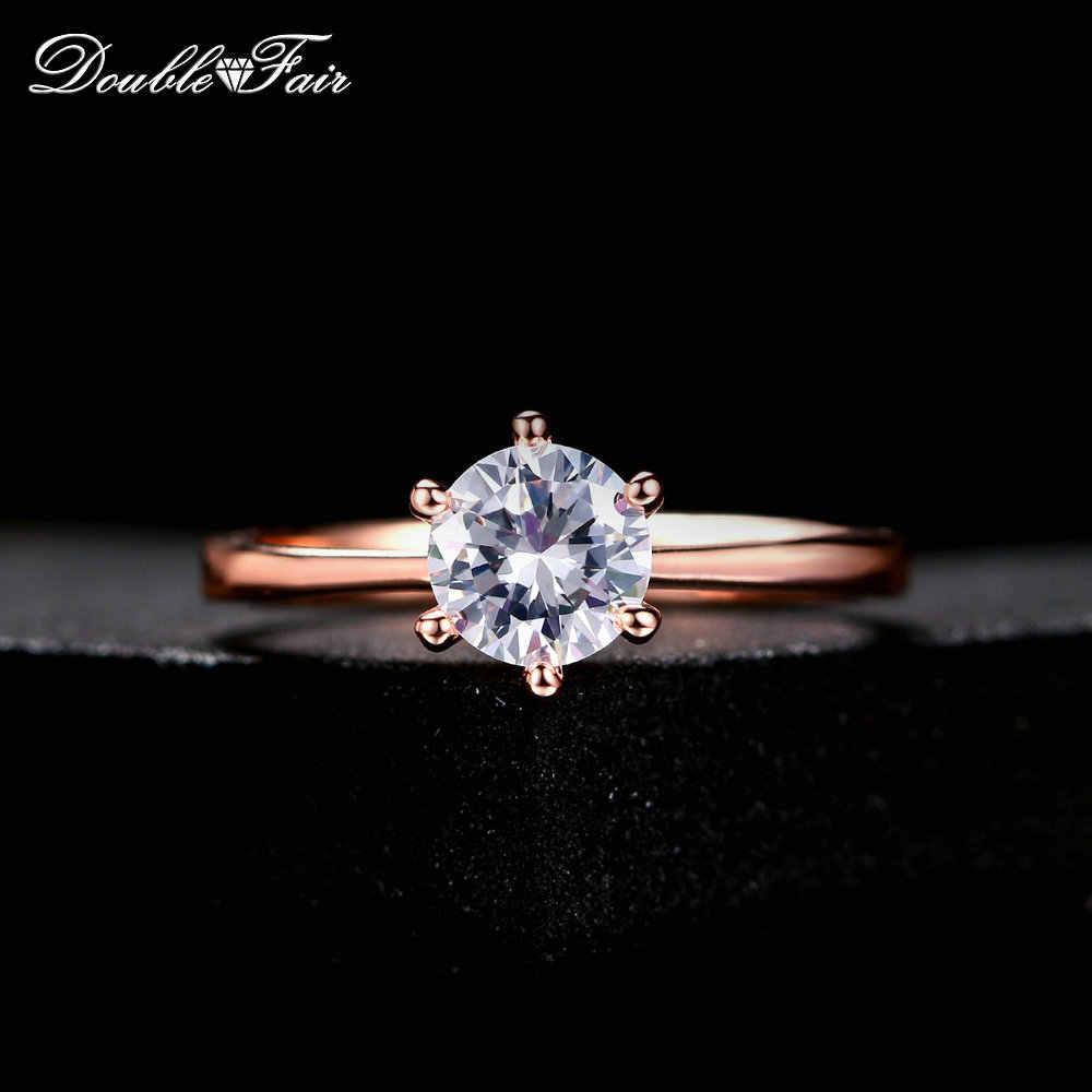 Double Fair 6 Claw 1 กะรัต Cubic Zirconia งานแต่งงาน/หมั้นแหวนเงิน/Rose Gold สีผู้หญิงแหวนเครื่องประดับ DFR014