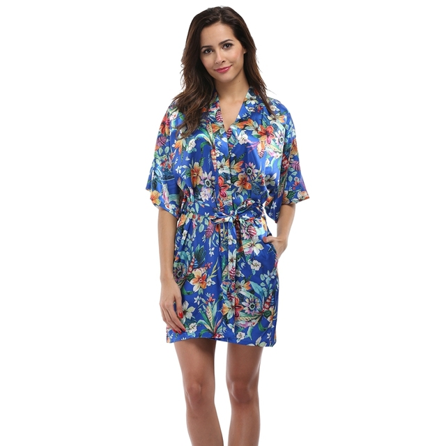 977d2fef4 Roupão de Banho das mulheres Floral Kimono Robe Lingerie Camisola Curta  Sleepwear Sexy Com Decote Em