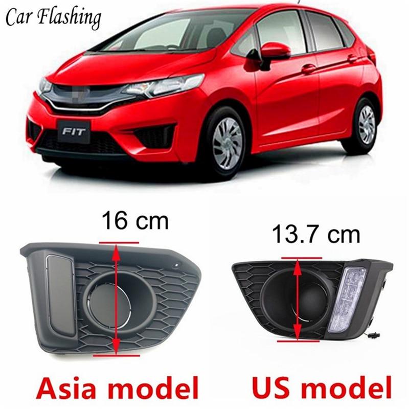Car Flashing 2Pcs DRL For Honda Jazz Fit 2014 2015 2016 Daytime Running Lights fog lamp