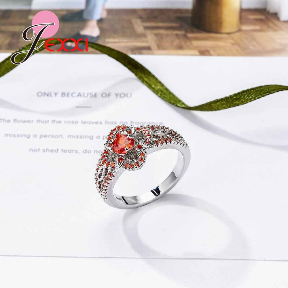 JEXXI High Standard Cubic Zircon Promise Rings for Women Wife Gift Real 925 Sterling Silver CZ Crystal Wedding Accessories