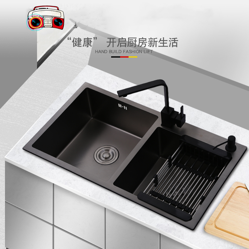 Multifunctional Kitchen Sink Brushed Drawing Drainer Deck Mounted Home Undermount Black 304 Stainless Steel Kitchen Double Sinks