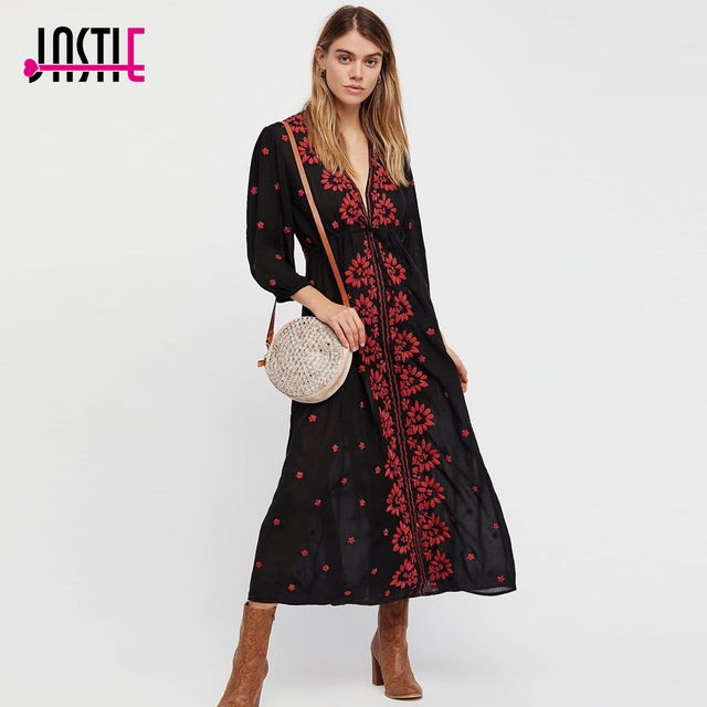 Jastie Floral Embroidered Fable Onyx Combo Dress V-Neck Empire Waist Boho  Chic Maxi Dresses Bubble Sleeves Women Dress Vestidos