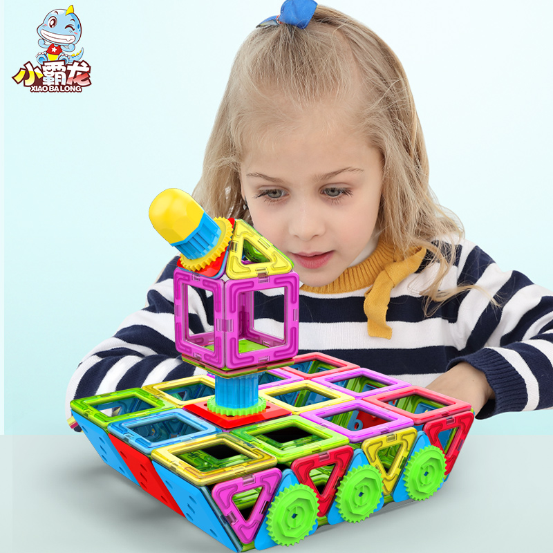 цена на 90/110/135/155/205/245pcs Big Size Magnetic Building Blocks Triangle Square Brick designer Enlighten Bricks Magnetic Toys