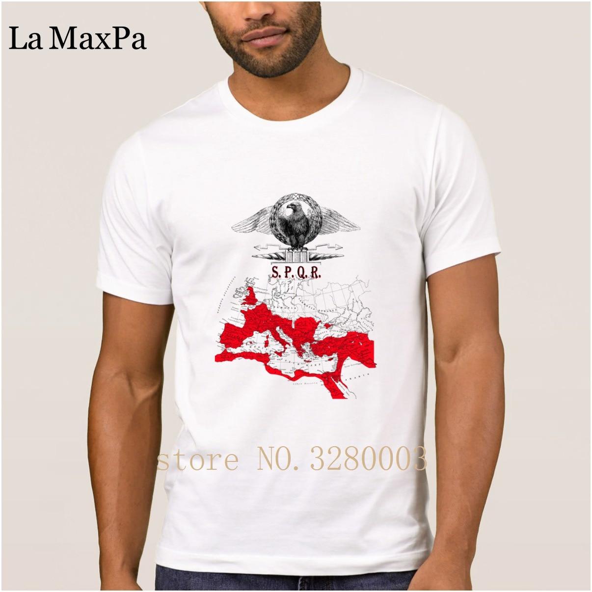New Fashion T Shirt Men Spqr Banner With Detailed Map Of The Roman Empire Men T-shirt Summer Style Letter Tee Shirt Man