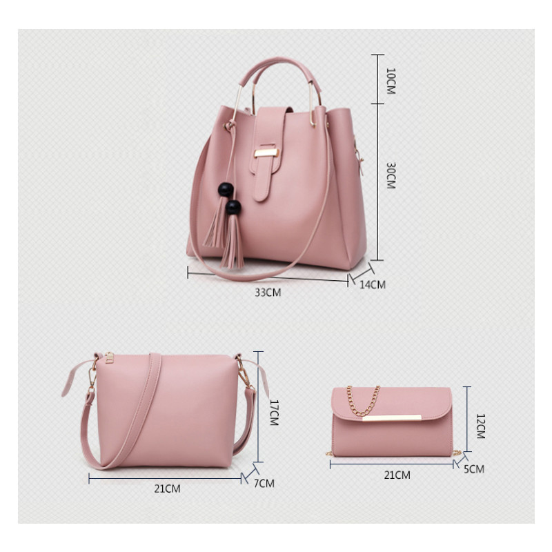 3Pcs/Sets Women Handbags Leather Tassel Bucket Shoulder Bags Female Composite Bags Large Capacity Casual Tote Bag Bolsas