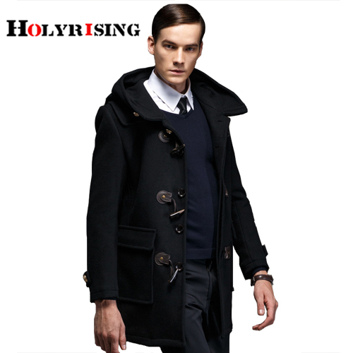 Men Trench Coat Horn Button...