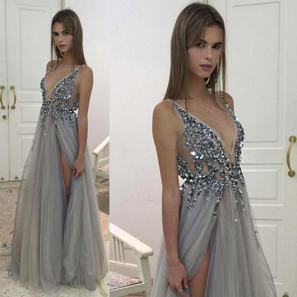 V Neck Long   Prom     Dresses   2017 For Black Girls Evening   Dress   Tulle Beaded Crystal A Line Split Sexy Backless Vestidos De Baile