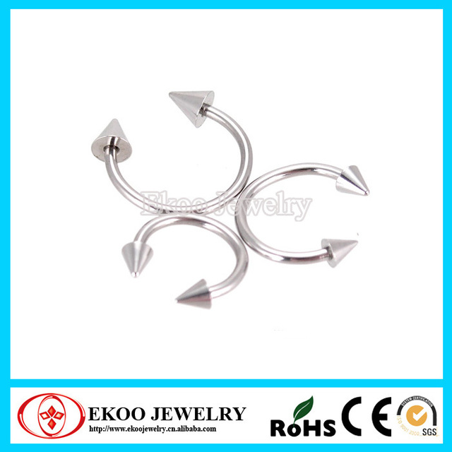 316l Surgical Steel 18 Gauge Circular Barbell Stud Earrings With Cone Mixed 4 Sizes Fashion Body
