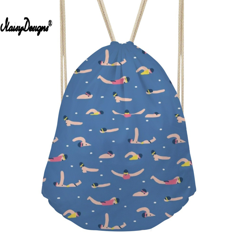 Drawstring Bag Women s Sports Pattern Daypack Girls Cartoon Beach Pouch Kids Cute College Package Travel