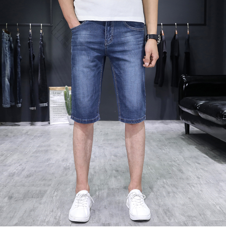 KSTUN Men's Jeans Trousers Summer Shorts Light Blue Stretch Denim Short Slim Fashion Shorts Man Casual Mens Jeans De Homme Newly 11