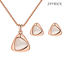 Ladies Necklace Earrings Jewelry Sets Elegant Austrian Crystal Cat Eye Stone Jewelry Sets For Women 2018 hot sale austrian crystal necklace earring sets wedding jewelry for women party accessorie pendientes juego de collar n064
